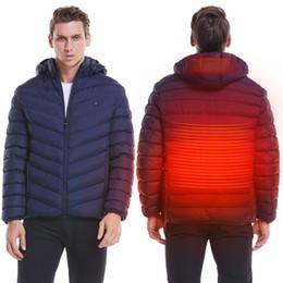 2019 batería de la chaqueta Mens climatizada al aire libre chaleco de la capa USB batería eléctrica de manga larga con capucha de calefacción chaqueta de invierno cálido ropa térmica Esquí Senderismo batería de la chaqueta baratos