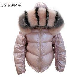 Revestimento reversível on-line-2019 Schinteon Mulheres White Duck Down Jacket Big real colar da capa de Inverno Outwear reversível Two Side usar casaco impermeável