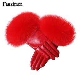 leather sheep gloves Promo Codes - Winter Sexy Real Sheep Leather Real Fox Fur Mittens Genuine Leather Glove Fox Fur Gloves Women's Fashion