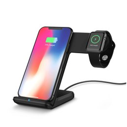 Stations de chargement iphone plus en Ligne-Stations de recharge sans fil à chargement rapide 2 en 1 pour Apple Watch / iPhone X / 8 Plus