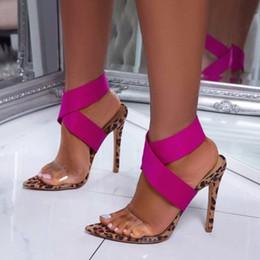 Pompes léopard roses en Ligne-Mode léopard rose couleurs mélangées croix bracelet haut talon pompes chaussures de marque taille 35 à 40