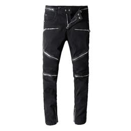 Vend des jeans déchirés en Ligne-Vente chaude Hommes Designer Jeans De Luxe En Difficulté Zipper Trou Jeans Hommes Déchiré Denim Pantalon Taille 29-42