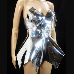 10287279a8 Sparkly Silver Strapless short Dress Women's Birthday Celebrate Outfit  Nightclub Female Singer DJ DS GOGO Sexy Stage Dress
