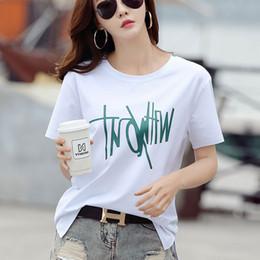 delgado camisetas Rebajas 2019 diseñador de camiseta para mujer nueva camiseta de verano suelta delgada impresa moda camisetas de manga corta para mujer tops clothing 5 colores opcionales