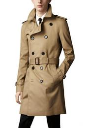 2020 nuova Mens lunghi cappotti di inverno Slim Fit Uomo Casual Trench Uomo Doppio Petto Trench Coat Regno Unito Stile Outwear da