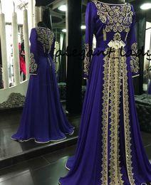 Dubai dresses designs on-line-Manga Longa Vestidos de Noite 2019 Azul Royal Muçulmano Formal Abaya Designs Dubai Turco Ouro Applique Vestidos de Baile Vestidos Marroquinos Kaftan