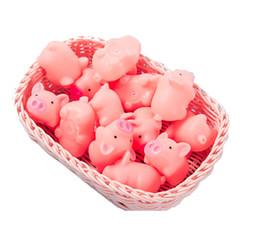 Mini maiali di plastica online-Bagnetto maiale rosa giocattolo Mini giocattolo di gomma del maiale con Bibi suono piscina di acqua Giocattoli di divertimento per i bambini