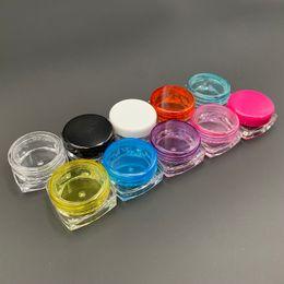 Пластиковые прозрачные квадратные бутылки онлайн-3g 3 мл 5 г 5ML площади Красочный прозрачный пластиковый Cosmetic Контейнер с завинчивающейся пробкой Крем Jar бальзам для губ Pill хранения Флакон аксессуары Бутылка для некурящих