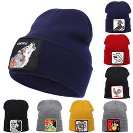 Bonnet de loup en Ligne-VEGETA hiver Calottes pour les hommes Cartoon Characters broderie Hiver chaud Bonnet Bonnet unisexe femmes loup Hip Hop Hat