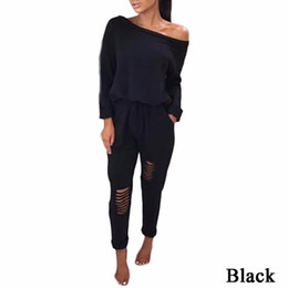 ladies evening jumpsuits NZ - Womens One Shoulder Ripped Jumpsuit Long  Sleeve T Shirts + Long 508f8871b