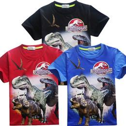 Jungen-Mädchen-Dinosaurier-Filmt-shirt Kurzschluss-Hülse druckte Oberseitenboutique scherzt Sommerbaumwollt-stücke freies Verschiffen von Fabrikanten