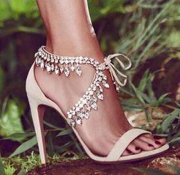 Strass de sandálias strappy on-line-Eunice Choo Estilo Strass Gladiador Sandálias Das Mulheres Suede Strappy Sapatos de Salto Alto Mulher Lace Up Moda Bombas Zapatos Mujer