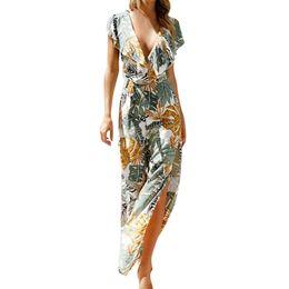 Overoles florales para mujer online-2019 Summer Casual Rompers Womens Jumpsuit con cuello en v Estampado floral sin mangas Long Playsuit Ladies Jumpsuit monos de vadim #C