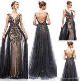 falda de sirena de lujo Rebajas 2019 atractivo de lujo con cuentas de cristal de la sirena de los vestidos de noche Yousef aljasmi faldas de encaje desmontables 3D arábiga Prom vestidos formales vestidos de fiesta 5406