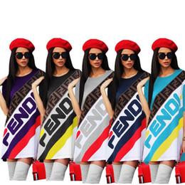 Femmes Tenue De Sport D'été À Manches Longues T-Shirt Jupe Tee Lâche Robes F Lettre Imprimé Sportswear Street Club Vêtements 2019 NOUVEAU C436 ? partir de fabricateur