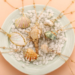 collana conchiglia collana donne Sconti Collane di conchiglie di conchiglie Bohemian Shell Sea Beach Shell Dichiarazione Collana per le donne Collier Femme Shell Cowrie Estate Beach Jewelry