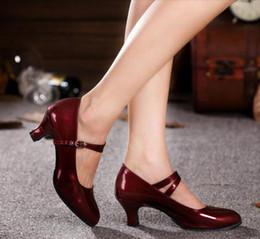 Scarpe da donna in pelle verniciata con tacco gattino scarpe da ballo latino jazz waltz danzanti 5,5 cm tacco argento vino rosso da