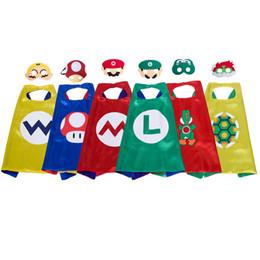 2019 vestidos de diablo negro de halloween 6 personajes de dibujos animados capa de superhéroe con máscara para niños de 27 pulgadas trajes de Super Mario cosplay capa Yoshi Wario Koopa favores de la fiesta de Halloween