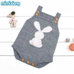 mamelucos de invierno lindo Rebajas Cute Rabbit Knit Mamelucos de invierno para niños Niñas Sleevless Traje de sol Ropa Ropa Niño recién nacido de una pieza mono 0-24M B11