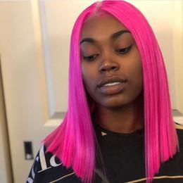Pelucas de durazno online-Peluca corta melocotón rosa corta melocotón para las mujeres negras con pelucas pre-desplumadas cabello virgen brasileño Frente de encaje corto Pelucas de cabello humano