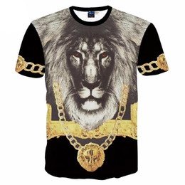 Leão 3d do rei camiseta on-line-3D novo designer de t-shirt dos homens de manga curta impressa Lion King medalha de ouro dos homens camisa criativa