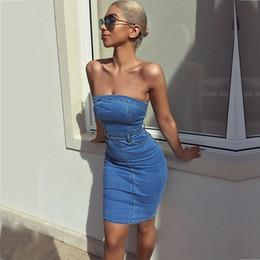 Fotos Reales Vestido De Mezclilla De Diseñador Para Mujer 2019 Moda Sexy Sin Tirantes Vestido De Cadera Delgado Vestido De Discoteca Al Por Mayor
