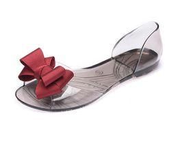 Boca plana online-Sandalias de verano zapatos de mujer sandalias de verano zapatos de jalea planos zapatos de boca de pescado zapatos de playa arco femenino