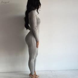 Macacão casual de algodão feminino on-line-Novos 2019 das mulheres cor sólida macacãozinho Casual Jumpsuit Turtleneck manga comprida Bodycon Cotton Grey Black macacãozinho Mulheres Jumpsuit