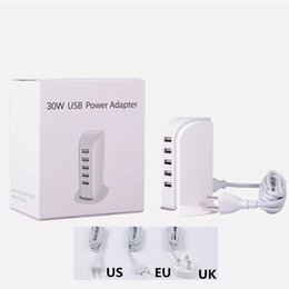 2019 usb nabe angetriebenes ladegerät 5 USB-Anschlüsse Ladestation 30W 5V 6A Eu US-UKW-Wandladegerät Netzteil Hub für Mobiltelefon GPS MP3 günstig usb nabe angetriebenes ladegerät