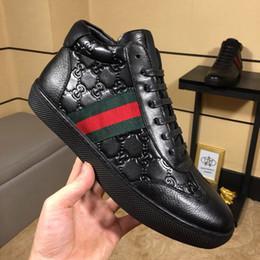 haut cuir Promotion Nouveau Designer Ace Sneakers Hommes Luxe High Low Top Casual Chaussures Casual Vert En Cuir En Cuir Hommes Marque Mode Loisirs Chaussures Avec Boîte