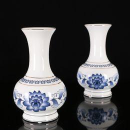 florero de cerámica blanca Rebajas Suministros budistas Florero de cerámica Azul y blanco Florero de loto Arreglo floral Clásico Templo budista Contenedor de flor de cerámica