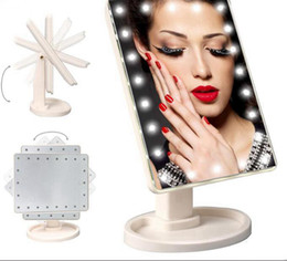 2019 espelhos dobráveis Make Up LED Espelho de Rotação de 360 Graus de Tela de Toque Compõem Cosmético Dobrável Portátil Compacto de Bolso Com 22 LED Espelho de Maquilhagem de Luz espelhos dobráveis barato
