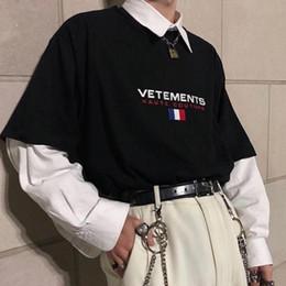 Corti di bandiera mens online-19ss Vetements Fashion Tee bandiera francese ricamata maniche corte uomo e donna maglietta di design da uomo in cotone oversize di alta qualità HFBYTX332