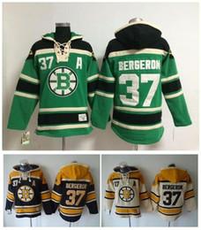 pullover verde inverno xxl Desconto Qualidade máxima ! Boston Bruins Velho Tempo Hóquei Jerseys 37 Patrice Preto Verde Creme Moletom Com Capuz Pullover Sports Moletons Casaco de Inverno