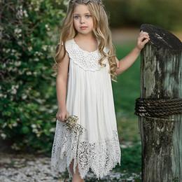 Argentina 2019 ropa para niños nuevo estilo Verano nuevo vestido de las niñas bebé hermosa falda de encaje hada calado Suministro