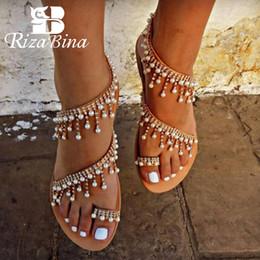 Sandálias de contas on-line-RIZABINA Moda 2019 Sandália Mulheres Mulher Ocasional Sandália Plana Sandálias Flat Corda Talão Sandalias Sapatos Femininos Tamanho 35-43