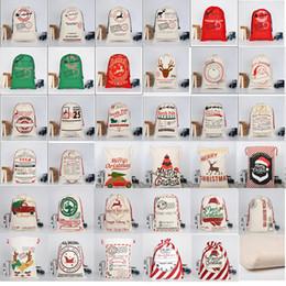 2019 decorações vermelhas em prata de mesa de natal 2019 Natal Grande Lona Monogrammable Papai Noel Com Cordão Saco Com Renas Monogramable Presentes de Natal Saco de Sacos