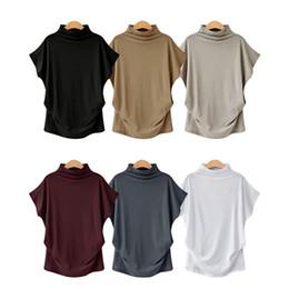 Blusa de algodón coreano online-Verano de las mujeres camisa de algodón blusa 2019 estilo coreano del o-cuello de la blusa de señora floja de cuello alto Tops más el tamaño 6xl Fmeale ropa