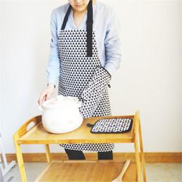 Cintura da lona avental on-line-Único empurrado para trás com avental de lona de algodão preto café loja de chá flor arte cerâmica artesãos homens e mulheres alongar a cintura