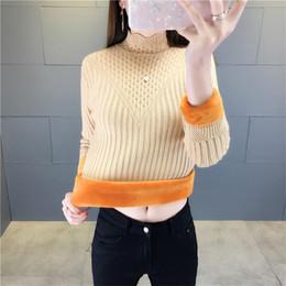 camisa de gola de veludo Desconto Camisola das mulheres Pullover Roupas de Inverno Além de Veludo Quente Knit Assentamento Camisa Meia Gola Alta Manga Comprida Camisola Feminina Tops 955