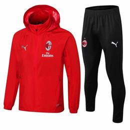 Tailandia calidad 2018 2019 AC Milan Fútbol traje de entrenamiento C rompevientos 18 19 AC Conjunto de chándal Fútbol Camisa de entrenamiento traje de sudadera desde fabricantes