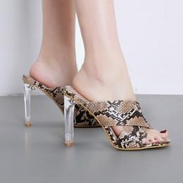 3c5b3b2eda8ae5 2019 glas high heels terlik Snakeskin Glass Damen High Heel Hausschuhe  Schuhe Sommer Slipper chaussures femme