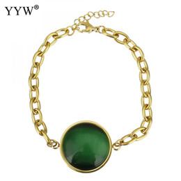 2019 mode oval kette frauen armband schmuck edelstahl vintage türkis armbänder grün glas charme armband 7,5 zoll von Fabrikanten