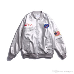 2020 chaqueta de beisbol para hombre xxl NASA chaqueta de abrigo MA1 Vuelo Piloto diseñador chaqueta de bombardero mujeres de los hombres de plata cazadora de béisbol para hombre de las chaquetas Wintercoat tamaño M-XXL chaqueta de beisbol para hombre xxl baratos