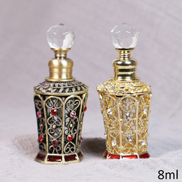antique red glasses Coupons - Vintage Antique Brass Gold Plating Red Hand Enameled and Rhinestones Jeweled Metal Glass Perfume Oil Bottle 8ml with Crystal Lid