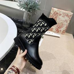 2019 calcanhares médios da marinha 2019 Nova Moda de Luxo Sapatos de Grife Botas de Qualidade Superior Botas Mulheres Botas de Tecido De Malha Oblíqua Técnica Com Caixa Original