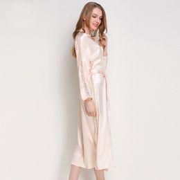 Seda Ropa de dormir de satén Togas Pijamas de manga larga para mujer Ropa de dormir Pijama de salón negro Champagne Rosa túnica desde fabricantes