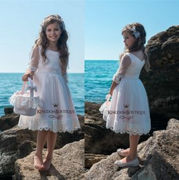 ef9d7af0e83 Adorable Blush Pink Flower Girl Dresses Short For Summer Beach Weddings A  Line 3 4 Sleeve Appliqued Cute Girl Communion Dress blush short graduation  dress ...
