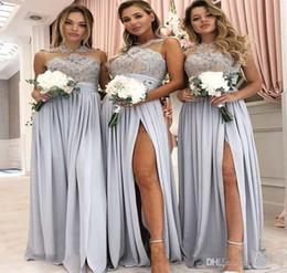 fd9561763682b 2019 New Sheer Neck demoiselle d honneur robes en mousseline de soie été  pays jardin formelle partie de mariage invité demoiselle d honneur robe  plus la ...