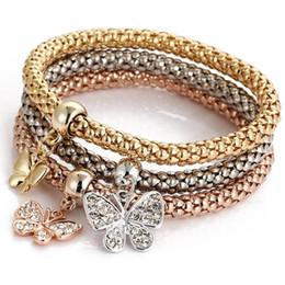 2019 bracelets de diamants halloween Marque de marée Bracelets alliage de mode Tricolor Set Stretch Popcorn Maïs Chaîne Diamant Brodé Papillon Pendentif Bracelet pour cadeau bracelets de diamants halloween pas cher